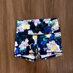 High-Waisted Floral Athletic Shorts